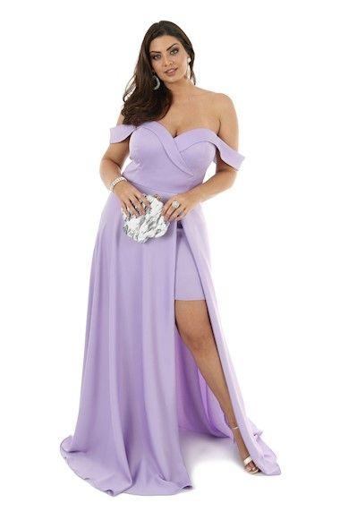 629551ccb Vestido de Festa Plus Size Lilas Ombro a Ombro com Fenda » Longo em ...
