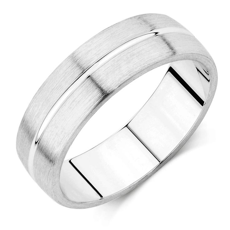 For an extra style and flourish, choose this 6.5mm wide 10kt white gold, groove pattern men's wedding ring. It features a matt finish and a central shiny groove for a bolder, more masculine feel. A sophisticated band for everyday wear.