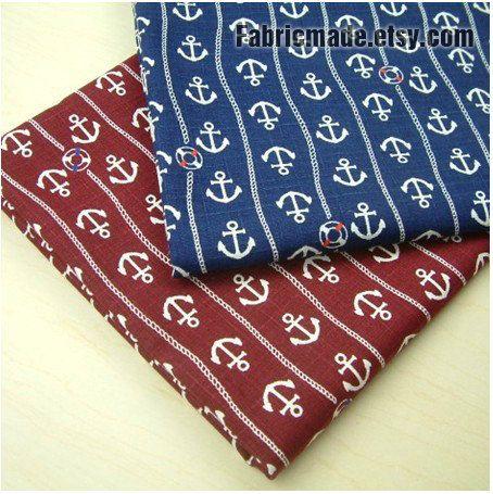 Japanese Fabric/ Anchors Fabric/ Sea Anchor Stripe Cotton Fabric/ Nautical Marine Dark Red Navy Blue Cotton- 1/2 yard. $6.90, via Etsy.