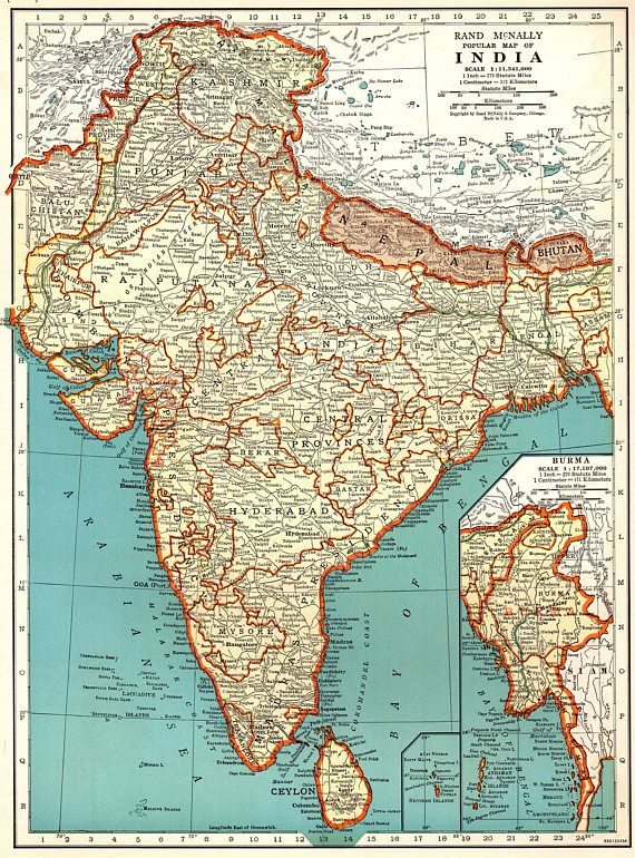 1940 Antique Map Of India Vintage India Map Library Decor Gift For Map Collector Birthday Wedding Anniversary Traveler India Map Ancient India Map Antique Map