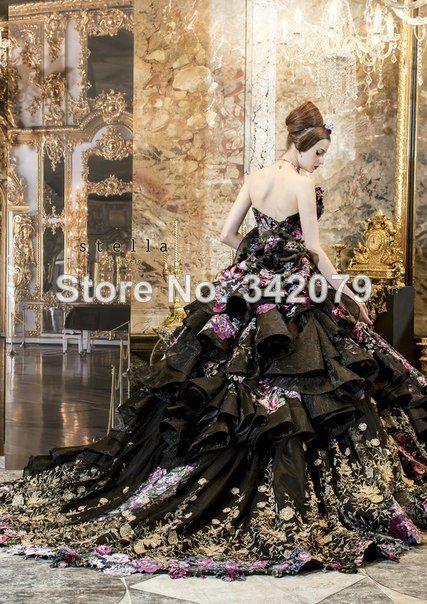 ph04458 black wedding gown with flowers Strapless gown with tiered organza skirt stella de libero 2014 black wedding dress $400