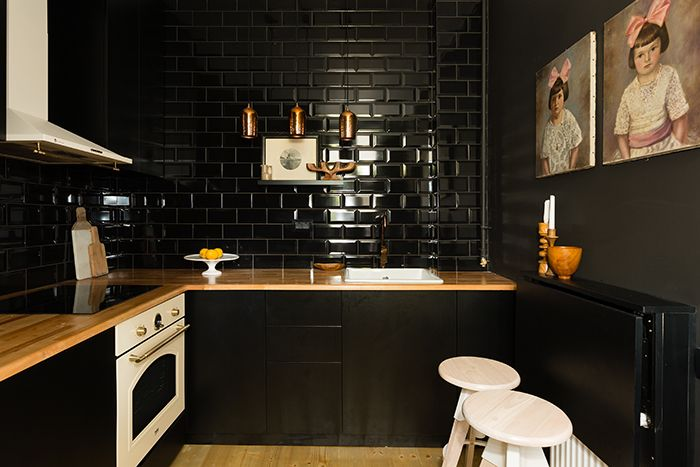 Dramatic kitchen, with no natural light