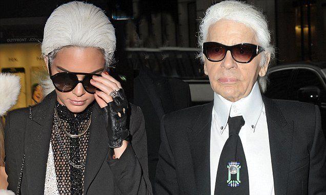 Kendall Jenner looks leggy as models white wig as Karl Lagerfeld