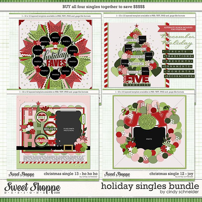 Cindy's Templates - Holiday Singles Bundle by Cindy Schneider