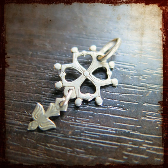 Antique French Silver Religious Huguenot Cross pendant - Vintage Jewelry Protestant from France