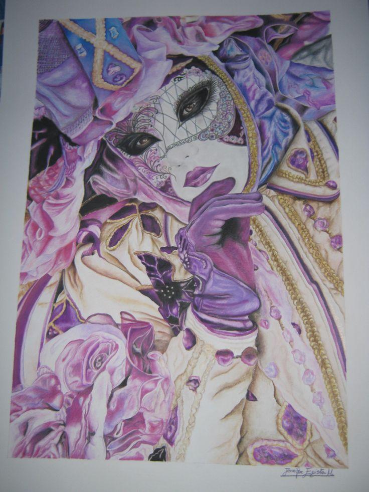 """""""Carnevale di Venezia: ritratto di maschera"""". Disegno realizzato da Jennifer Egista con matite colorate acquerellabili. Dimensioni: cm 50 x 70 cm.  #ColoredPencils #WatercolorPencils #Venice #VeniceItaly #VeniceCarnival #Art #Drawing #CretacolorMonolith #Aquamonolith #CaranD'Ache #FabrianoTiepolo"""