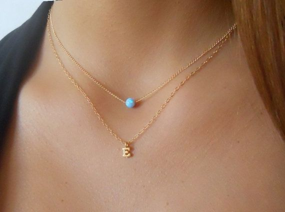A beautiful combination of an Opal bead and an initial pendant creates this set of two delicate necklaces.  Each necklace in this set is also perfect