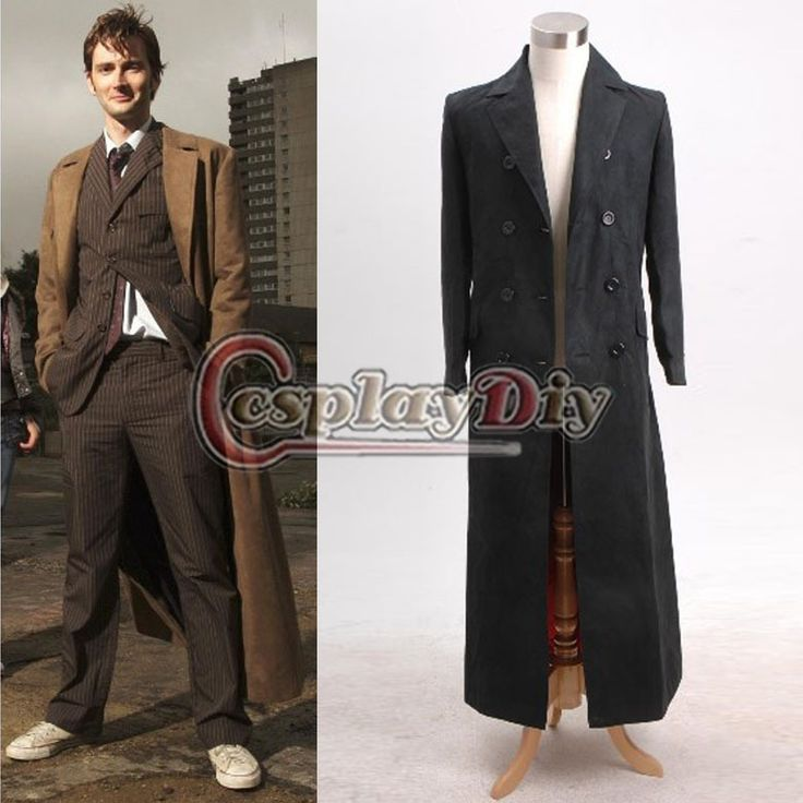 Doctor Dr. Long Trench Coat Costume Black Version Tailored