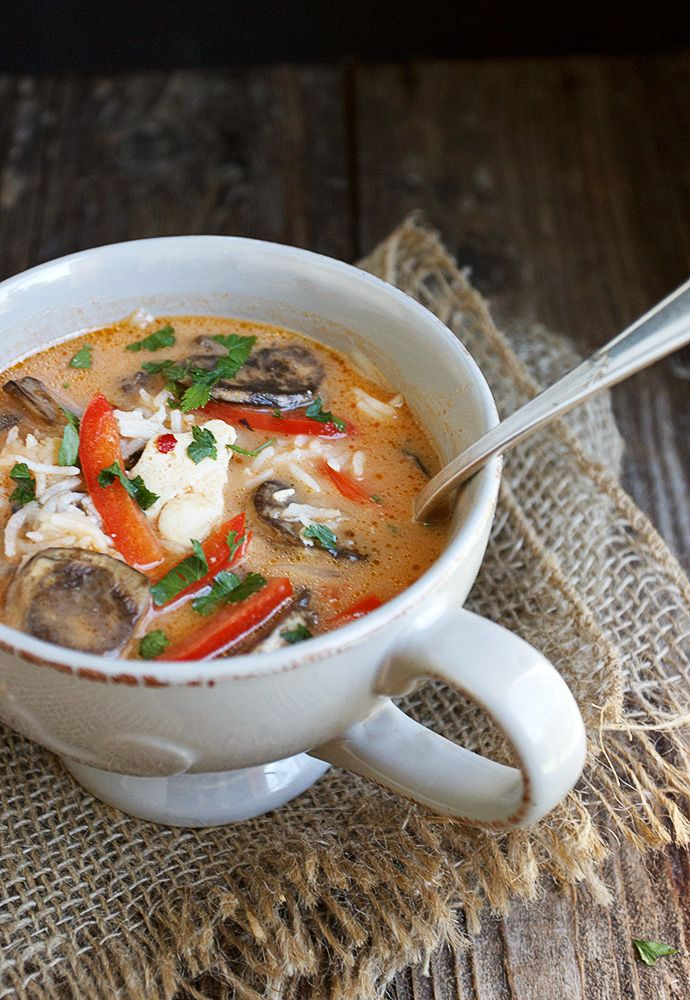 Wicked Thai Chicken Soup - chicken rice and vegetables in a flavorful Thai-inspired broth.