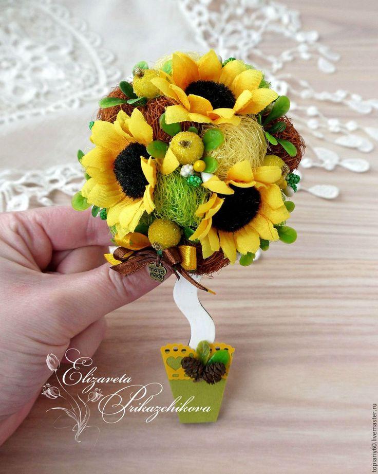 Купить Топиариии-магниты на холодильник в виде деревцев счастья - желтый, топиарий, Дерево счастья