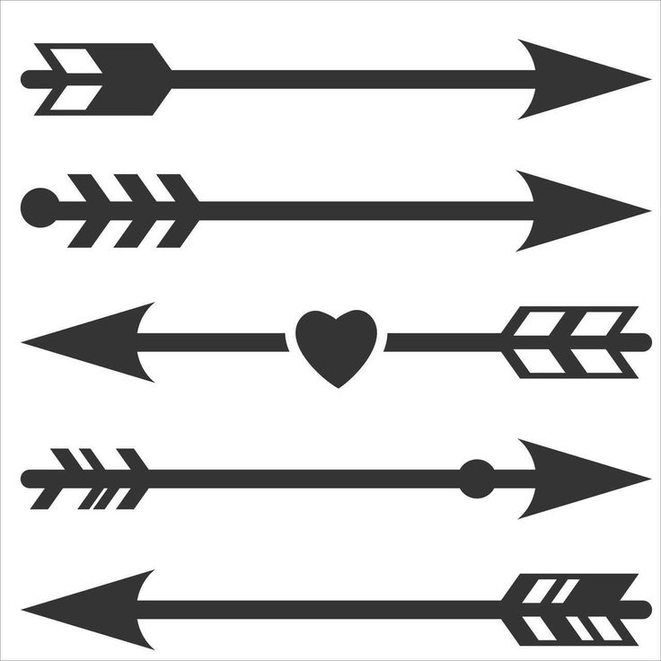 Vinyl Wall Decals - Assorted Arrow Designs, Set of 5 - Perfect for a DIY project or between gallery wall pictures!