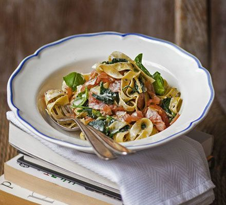 Lemony smoked salmon & spinach tagliatelle. Reader Rachel May shares her speedy recipe for silky pasta with greens, zesty lemon, basil and cream cheese