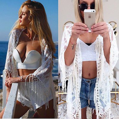 Women Lace Floral Bathing Suit Tassel Bikini Cover Up Cape Beach Dress Kaftan UK