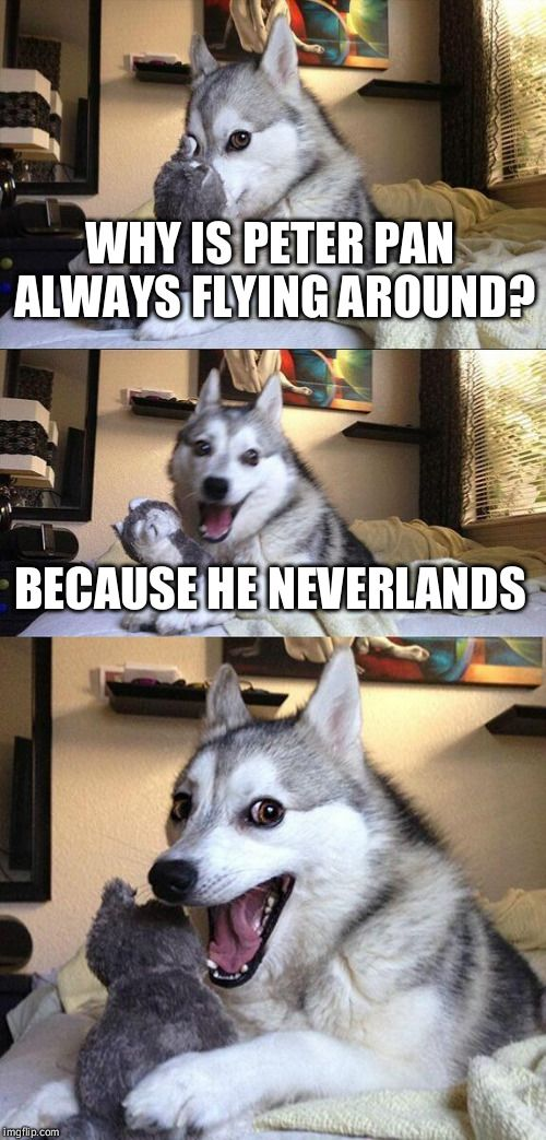 Bad Pun Dog   WHY IS PETER PAN ALWAYS FLYING AROUND? BECAUSE HE NEVERLANDS   image tagged in memes,bad pun dog   made w/ Imgflip meme maker