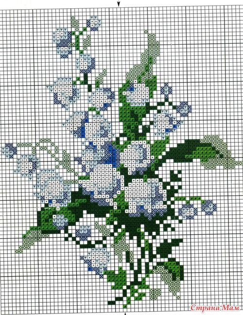 """Lilies of the valley. Scheme embroidery.: Diary of """"Embroidery and everything about it"""" - Country Mom"""