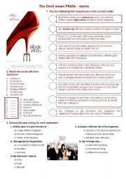 English worksheet: The Devil wears Prada - movie about fashion