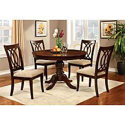 Furniture Of America Brennan 5 Piece Round Brown Cherry Dining Set