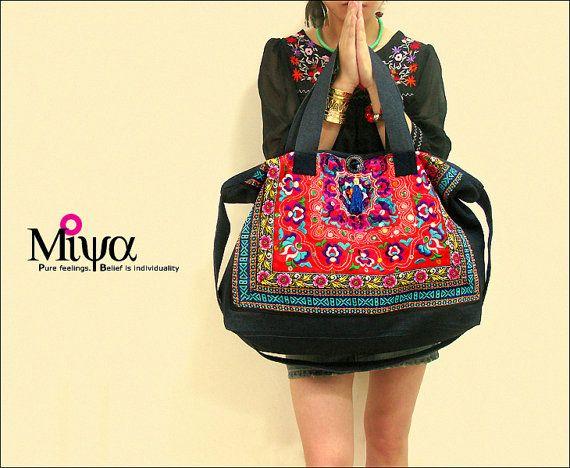 Origine ethnique Hmong de miya brodés sac sac à main sac epaule - amant rouge