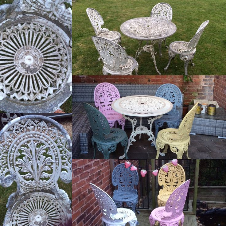 Cast aluminium patio set before after during wilkinsons