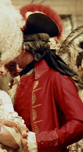 "A costume from the movie ""Marie Antoinette"" - Not the most historically accurate film in the world, as I'm sure we all know, but what an excellent view of an 18th century bag wig!"