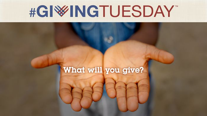 Happy Giving Tuesday. The central idea of Giving Tuesday is all of us no matter where we come from or what we stand for, all of us can give back in a profound way!