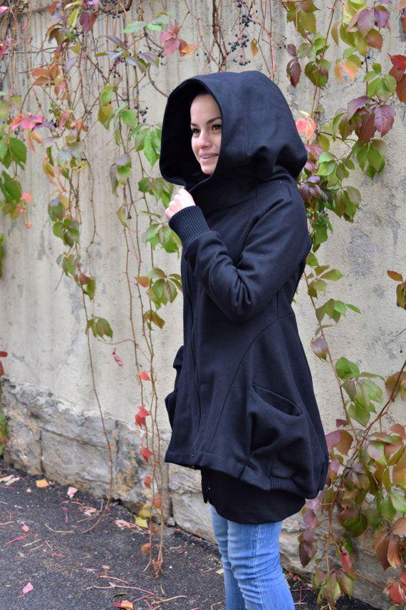 Zwarte jas Womens jas winterjas capuchon jas zwarte