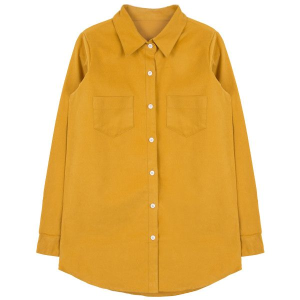 Solid-Colored Button-Down Shirt ($22) ❤ liked on Polyvore featuring tops, shirts, button front top, button front shirt, button down shirt, yellow long sleeve top and yellow long sleeve shirt