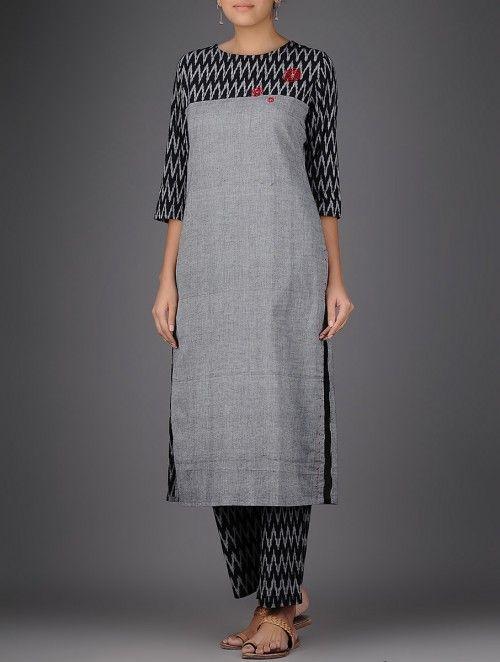 Grey-Black Ikat Hand-embroidered Handloom Cotton Kurta