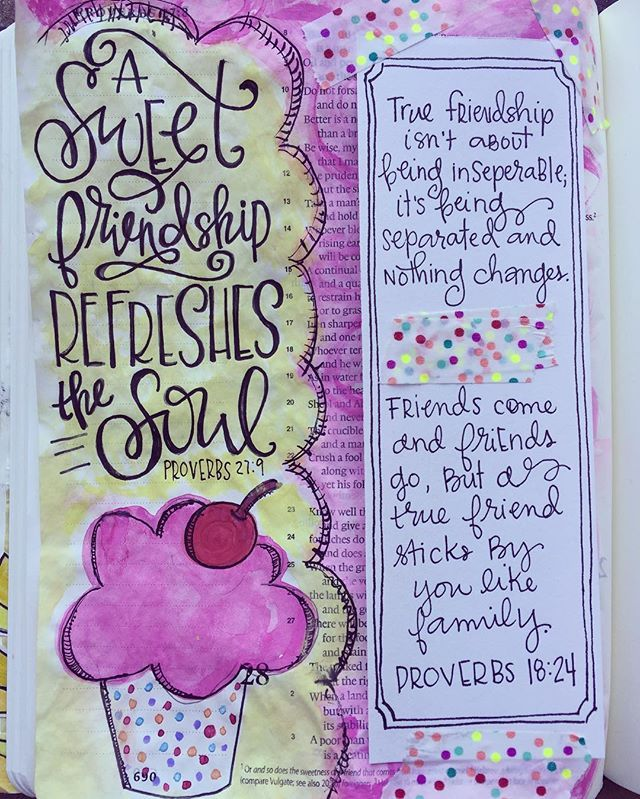 Bible Journaling by Cara Carroll @thefirstgradeparade | Proverbs 27:9
