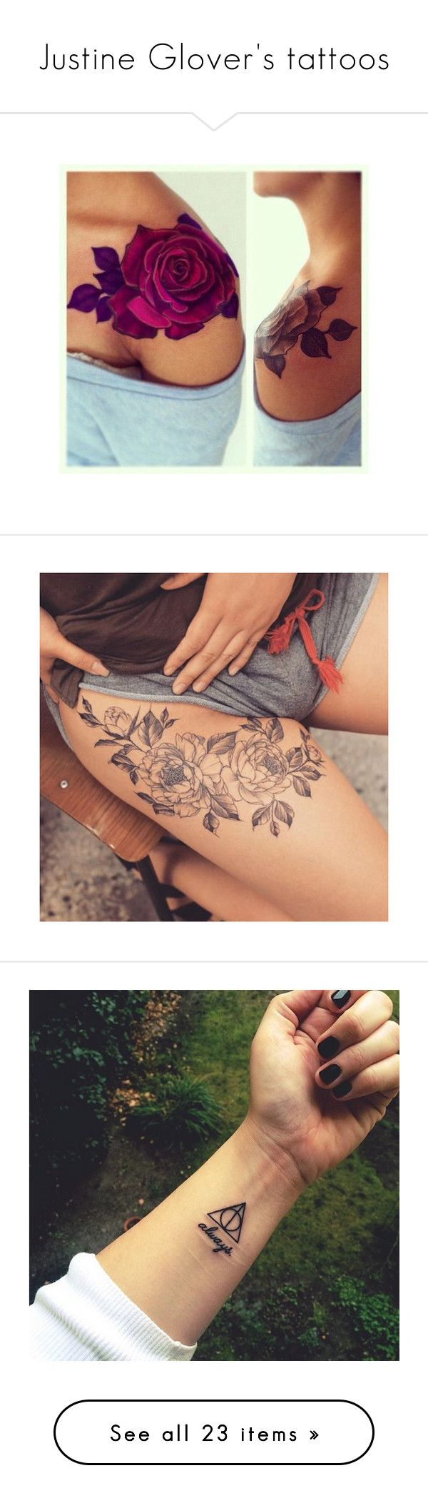 """""""Justine Glover's tattoos"""" by j-j-fandoms ❤ liked on Polyvore featuring accessories, body art, tattoo, tattoos, harry potter, photos, pictures, backgrounds, tatoo and tatoos"""