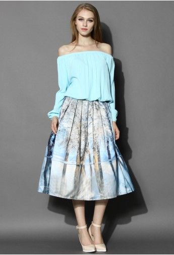 Icy Forest Pleated Midi Skirt#FIRE #MINE SPRING 2015