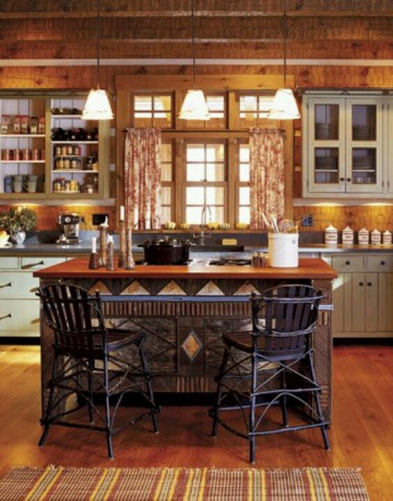 Log Cabin Kitchen   Country Living By Pauline. I Really Like This Color  Cabinets With All Of The Log Walls.