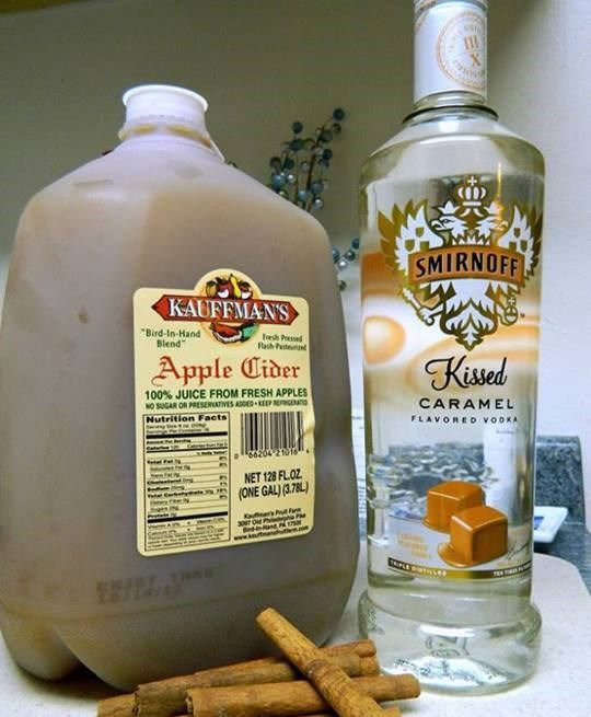 Hot Caramel Apple Cider Ingredients 4 mug's worth of apple cider 1 mug's worth of caramel vodka 3 t brown sugar. Warm apple cider, mix brown sugar in then add carmel vodka. Like eating a Carmel apple. Made last night and was a hit.
