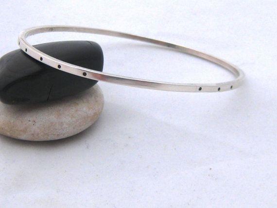 Sterling Silver Oval Bangle  handmade jewelry by ZaZing by ZaZing, NZ$90.00