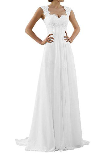 MILANO BRIDE Romantic Beach Wedding Dress Aline EmpireWaist Maternity Gown12Pure White >>> To view further for this item, visit the image link.Note:It is affiliate link to Amazon.