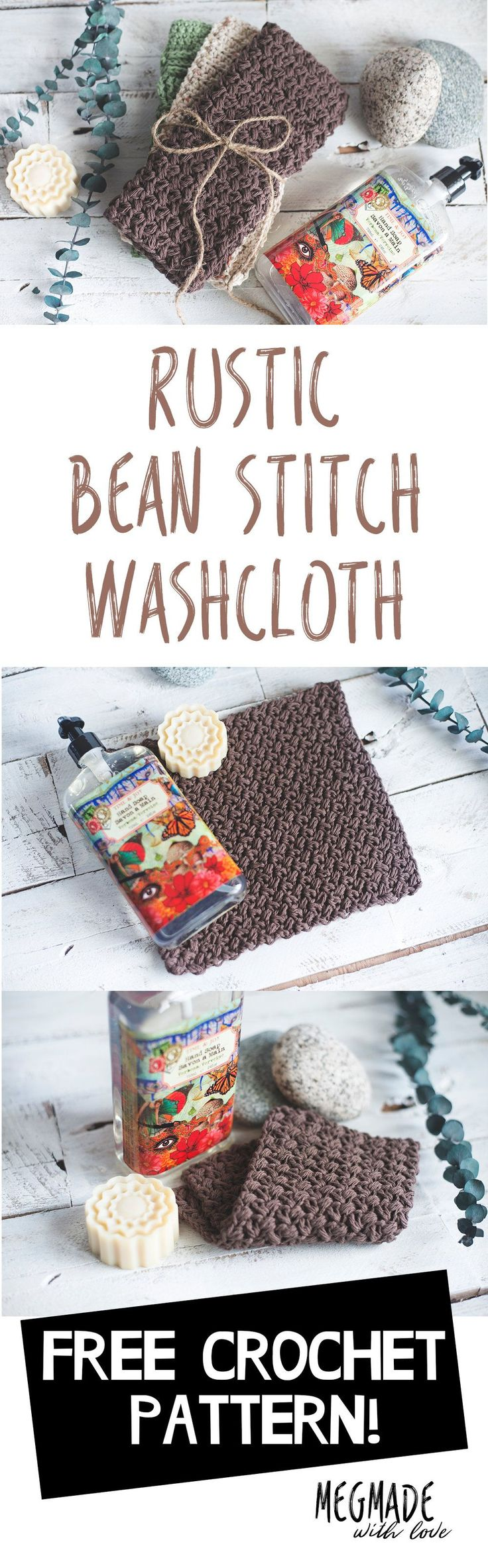 **Find the PDF version of this pattern along with two other washcloth  patterns over in my shop by clicking here. Great for easy printing!**  Hey there, friend!  This bean stitch washcloth is the first installment of my rustic washcloth  patterns I'll be releasing this week. There are two more