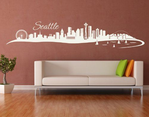 Seattle City Skyline Wall Decal by Style  Apply  cityscape highest quality wall decal sticker mural vinyl art home decor  4200  Black 31in x 6in *** You can find out more details at the link of the image.