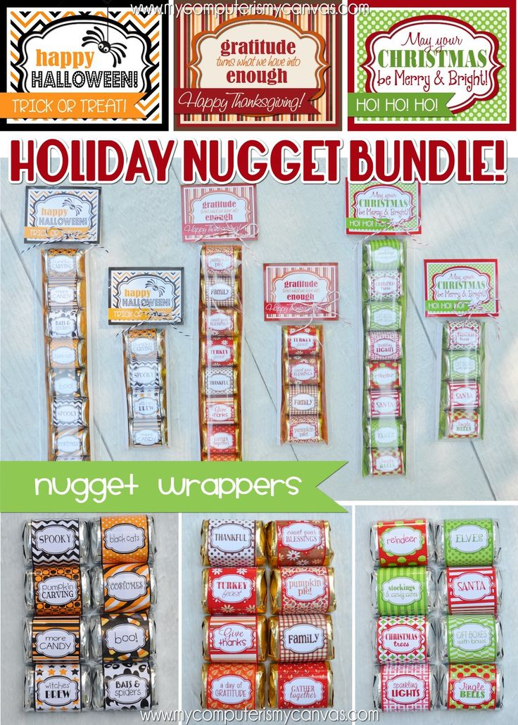 PRINTABLE Hershey Nugget Wrappers for the Holidays... Halloween, Thanksgiving and Christmas!  Perfect for parties, favors or gifts... she has tons of other sets for almost every holiday. #mycomputerismycanvas
