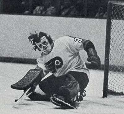 One of the scariest.  The wild hair along with the mask makes it even scarier looking.  Michel Belhumeur, Philadelphia Flyers