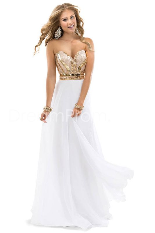 2014 Noble Beaded Sweetheart Chiffon White Rose Gold Sparkle Evening Dress