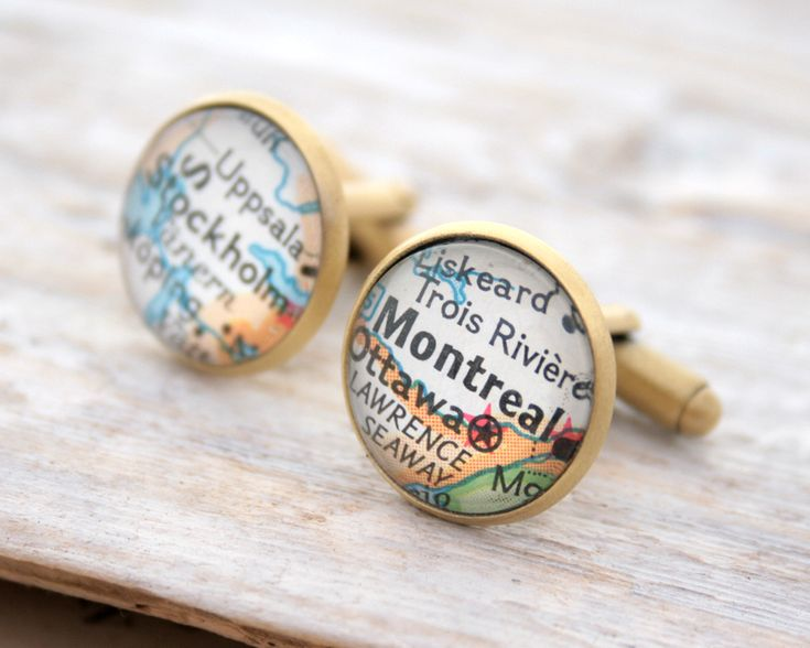 Brushed Bronze Custom Map Cufflinks  One set – two cufflinks – two custom places.  Everyone smiles when they see a map of a place close to their heart. Personalised Customised Cufflinks