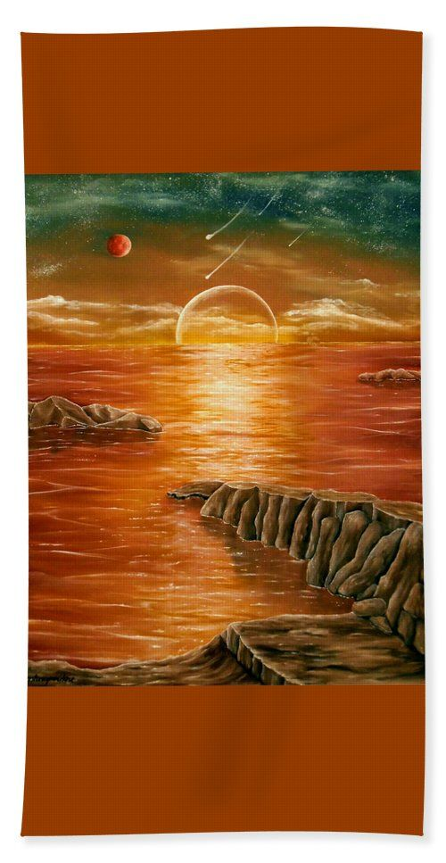 Beach Towel,  orange,brown,accessories,cool,trendy,fancy,beautiful,unique,awesome,modern,artistic,fashionable,unusual,for,sale,design,items,products,ideas,sunset,sea,planets