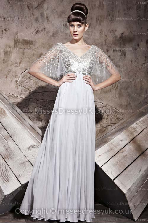 A-line V-neck Chiffon Floor-length Silver Sequins Evening Dress