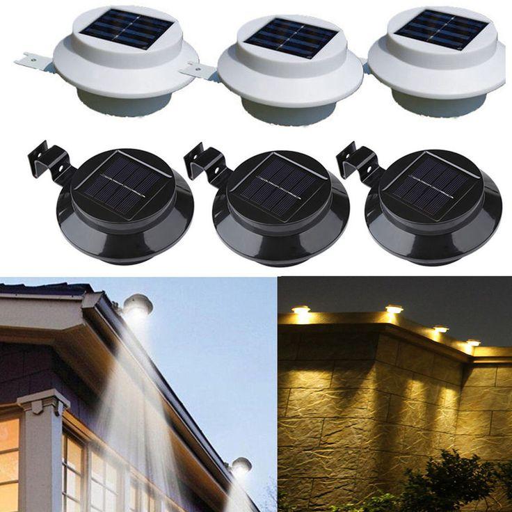 3LEDs Solarlampe Licht für Dachrinnen Außenlampe Leuchte Wandlampe Weiß/Warmweiß in Garten & Terrasse, Beleuchtung, Sonstige | eBay!