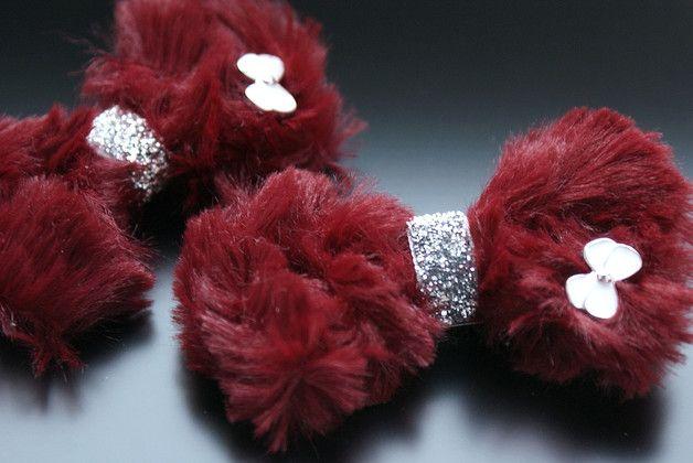 2 prześliczne spinki do włosów - KOKARDKI FUTERKOWE * KOLEKCJA ŚWIĄTECZNA *  Kolor bordowy. Wykonane ręcznie z największą starannością i dbałością o najmniejszy szczegół.  Jedyne takie - dla...