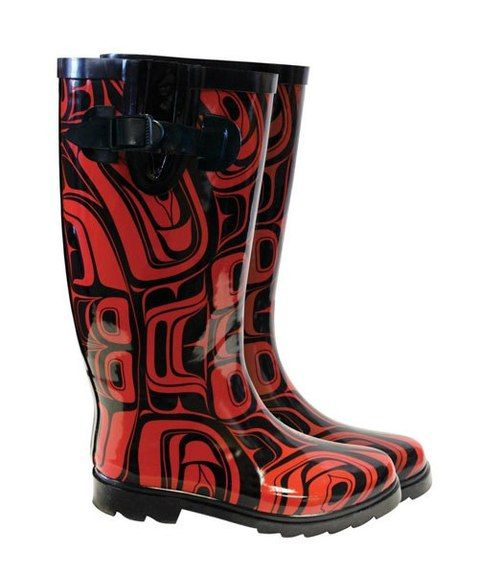 "True West Coast rain boots by Native Northwest.  ""Spirit"" by Tsimshian artists Corey W. Moraes... XoXoCorey Mora, Rainboots, Cowboy Boots, Red Boots, Rain Boots, Artists Corey, True West, Rubber Boots, Native American"