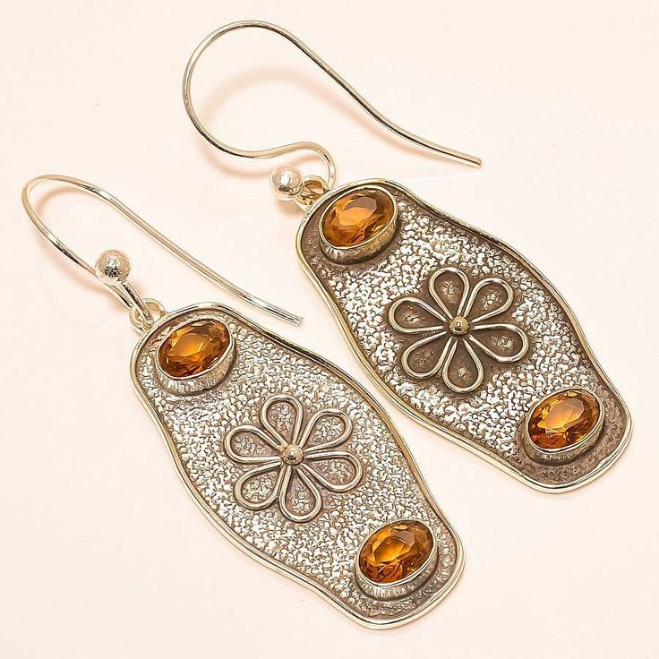 Honey Topaz Vintage Style 925 Sterling Silver Jewelry Earring 2.17