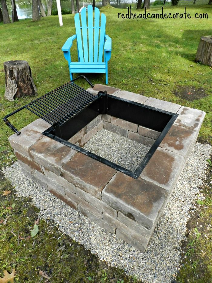 Beautiful DIY Fire Pit w/ Grill Insert. Garden outdoor conversation pit.