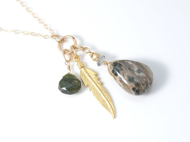 Womens Green Tourmaline necklace | Womens Gold Feather necklace | Fancy Jasper necklace | Gemstone charm necklace | Green Tourmaline pendant #Jewelry #Necklaces #CharmNecklaces #fancyjaspernecklace #greentourmaline #tourmalinenecklace #tourmalinependant #womensgreen #goldfeathernecklace #goldfeathercharmnecklace #gemstonecharm #tourmalineteardrop #womenscharmnecklace