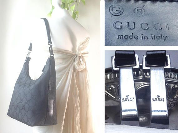 Vintage Authentic GUCCI Black Hand Bag Original Monogram